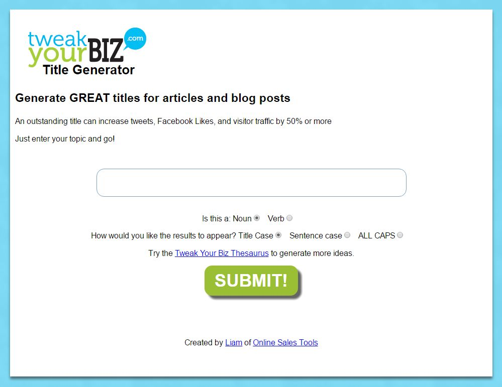 Tweak Your Biz Title Generator